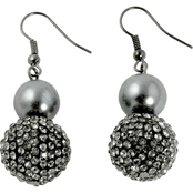 PalmBeach Black Ruthenium Simulated Pearl Earrings