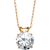 PalmBeach 10K Yellow Gold Round Cubic Zirconia Solitaire Pendant