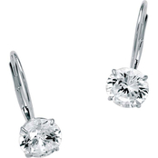 PalmBeach 10K White Gold Cubic Zirconia Drop Earrings