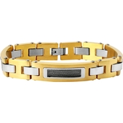 Goldtone Stainless Steel Link Bracelet with Cable Details