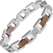Stainless Steel and Brown IP 1/2 CTW 8.5 in. Bracelet