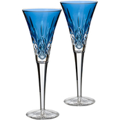 Waterford Lismore Sapphire 2 pc. Toasting Flute Set