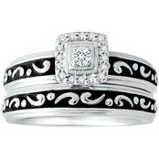 Expressions of Love Sterling Silver 1/8 CTW Diamond Bridal Set, Size 7