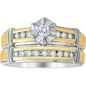 Expressions of Love 10K Gold Over Sterling Silver 1/4 CTW Diamond Bridal Set Size 7