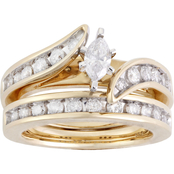 14K Yellow Gold 1 CTW Bypass Bridal Set