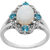 Sterling Silver Created Opal and Light Blue Topaz Ring, Size 7