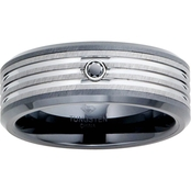 Tungsten and Ceramic Band with Black Diamond Accent