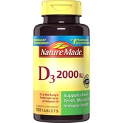 Nature Made Vitamin D3 2000 IU Tablets 100 Ct.