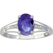 10K White Gold Tanzanite Ring with Diamond Accents, Size 7