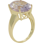 10K Yellow Gold 12 x 6mm Amethyst Ring, Size 7