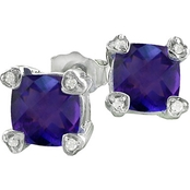 10K White Gold Amethyst Earrings with Diamond Accents