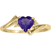 10K Gold Amethyst Ring with Diamond Accents Size 7