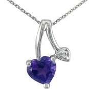 10K White Gold Amethyst Pendant with Diamond Accents