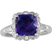 10K White Gold Amethyst Ring with Diamond Accents