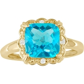 10K Gold Blue Topaz Ring with Diamond Accents