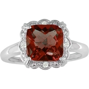 10K White Gold Garnet Ring with Diamond Accents