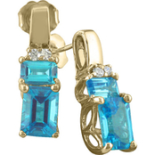 14K Yellow Gold Blue Topaz Earrings with Diamond Accents