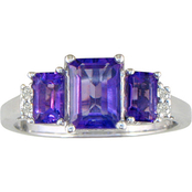 14K White Gold Amethyst Ring with Diamond Accents