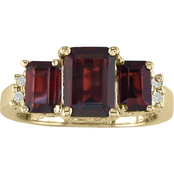 14K Yellow Gold Garnet Ring with Diamond Accents