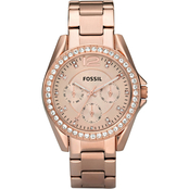 Fossil Women's Riley Multifunction Stainless Steel Watch, Rose ES2811