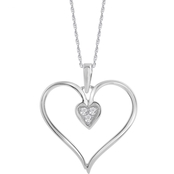 10K White Gold Heart Pendant with Diamond Accents