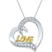Sterling Silver and 10K Yellow Gold Plating 1/5 CTW Diamond Love Pendant