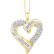 Sterling Silver with 14K Yellow Gold Plating 1/5 CTW Diamond Heart Pendant