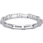 PalmBeach Sterling Silver Bezel Set Simulated Birthstone Eternity Band