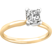 14K Gold 1/4 Ct. Princess Cut Diamond Solitaire Ring