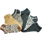 K. Bell Animal Print No Show Socks 6 Pk.