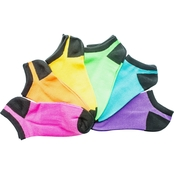 K. Bell Solid Neon No Show Socks 6 Pk.