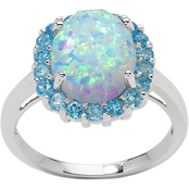 Sterling Silver Created Opal and Blue Topaz Ring, Size 7