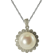 Sterling Silver 9-9.5mm Cultured Freshwater Pearl Flower Pendant with Diamond Accents