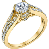 14K Yellow Gold 1 1/3 CTW Gloria Diamond Engagement Ring, Size 7