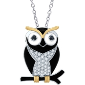 Sterling Silver 1/4 CTW Black and White Diamond Owl Pendant