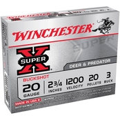 Winchester Super-X 20 Ga. 2.75 in. #3 Buckshot 20 Pellets, 5 Rounds