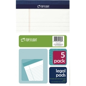 Top Flight 5 x 8 in. White Legal Pad 5 pk.