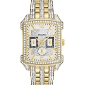 Bulova Men's /  Women's Goldtone Crystal Accented Chronograph