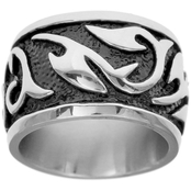 Black Oxidized Stainless Steel High Polish Swirl Band