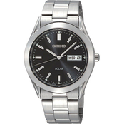 Seiko Men's Solar Watch with Black Dial SNE039