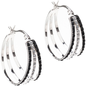 Diamond Fascination Platinum over Sterling Silver Black and White Fan Hoop Earrings