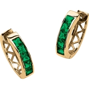 PalmBeach Channel-Set Simulated Emerald Birthstone Hoop Earrings