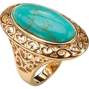 PalmBeach 18K Gold Layered Oval-Shaped Simulated Turquoise Filigree Ring