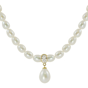 14KY 17 in. 6.5x7mm-9x9.5mm Cultured Freshwater Pearl Necklace with Diamond Accent