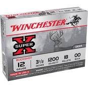 Winchester Super-X 12 Ga. 3.5 in. 00 Buckshot 18 Pellets, 5 Rounds
