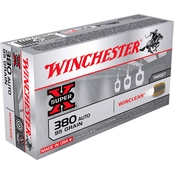 Winchester USA .380 ACP 95 Gr. Brass Enclosed Base Win Clean, 50 Rounds