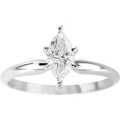 14K White Gold 1/2 ct. Marquise Solitaire Diamond Ring, Size 7