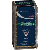 CCI TNT Green .22 WMR 30 Gr. Jacketed Hollow Point Lead Free, 50 Rounds