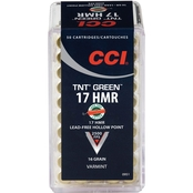 CCI TNT Green .17 HMR 16 Gr. Hollow Point Lead Free, 50 Rounds