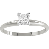 14K White Gold 1/2 ct. Princess Cut Diamond Solitaire Ring, Size 7